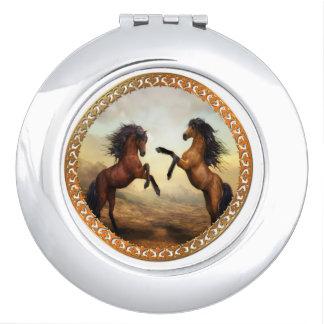 Dark Brown And Light Brown Friesian Draft Horses Mirrors For Makeup