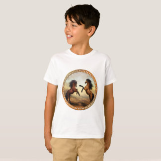 Dark Brown And Light Brown Friesian Draft Horses T-Shirt