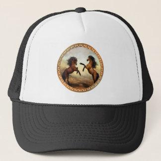 Dark Brown And Light Brown Friesian Draft Horses Trucker Hat