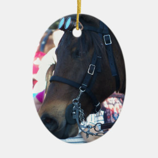 Dark Brown Arabian Horse wearing goggles Ceramic Ornament