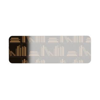 Dark Brown Books on Shelf. Return Address Label