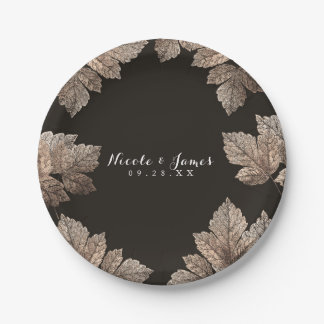 Dark Brown & Bronze Leaves Rustic Custom Fall Paper Plate