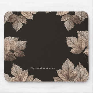 Dark Brown & Bronze Leaves Rustic Fall Glam Mouse Pad