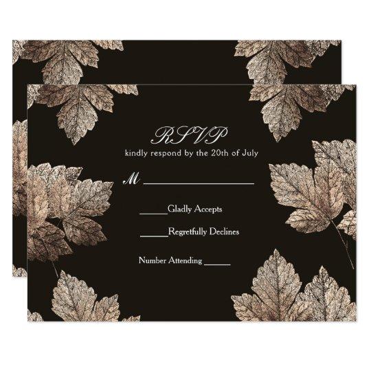 Dark Brown & Bronze Leaves Rustic Fall RSVP Card