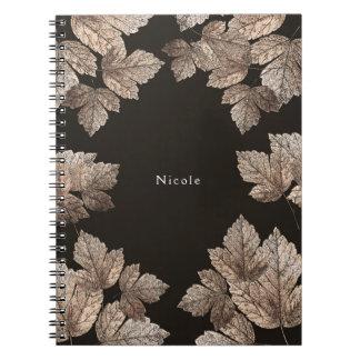 Dark Brown & Bronze Leaves Rustic Glam Custom Notebooks