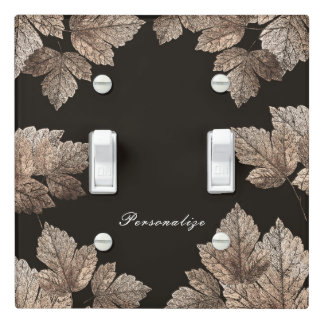 Dark Brown & Bronze Leaves Rustic Glam Fall Light Switch Cover