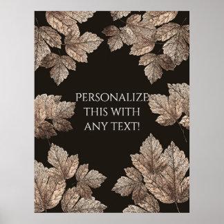 Dark Brown & Bronze Leaves Rustic Party Banner Poster