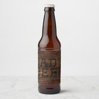 Dark Brown Carved Wood Dad's Beer Beer Bottle Label
