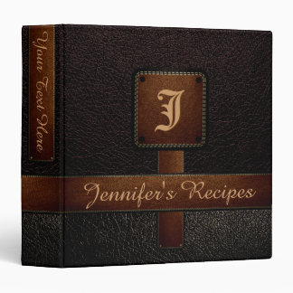 Dark Brown Elegant Recipe Leather Look Binders