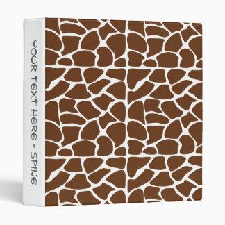 Dark Brown Giraffe Pattern Vinyl Binders