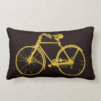 Dark Brown gold bike bicycle  Throw pillow