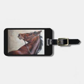 Dark brown horse luggage or purse tag