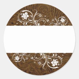 Dark Brown Leather Look White Lace Seals Round Sticker