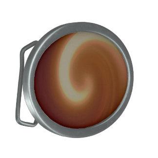 Dark Brown Light Spiral Art Belt Buckles