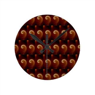 Dark Brown Light Spiral Art Round Clock