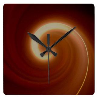 Dark Brown Light Spiral Art Square Wall Clock