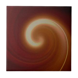 Dark Brown Light Spiral Art Tile