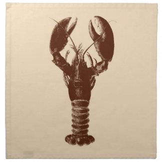 Dark Brown Lobster on Light Beige Napkin