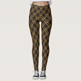 Dark Brown Offset Gold Diamonds Pattern Leggings