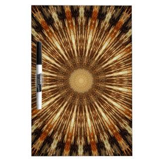 Dark Brown Orange Kaleidoscope Mandala Art Dry Erase Board