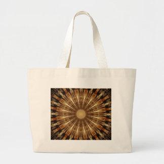 Dark Brown Orange Kaleidoscope Mandala Art Large Tote Bag