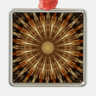Dark Brown Orange Kaleidoscope Mandala Art Metal Ornament