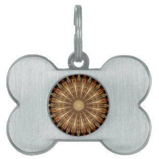 Dark Brown Orange Kaleidoscope Mandala Art Pet ID Tags