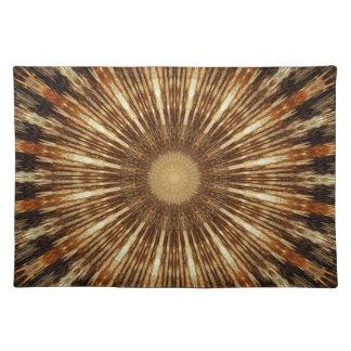 Dark Brown Orange Kaleidoscope Mandala Art Place Mats