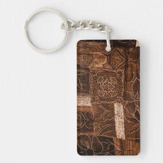 Dark Brown Patchwork Acrylic Key Chain