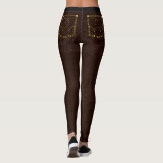 Dark Brown Plaid Skinny Jeans Leggings