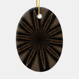 Dark Brown Rustic Kaleidoscopic Flower Art Ceramic Oval Ornament