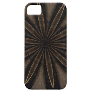 Dark Brown Rustic Kaleidoscopic Flower Art iPhone 5 Covers
