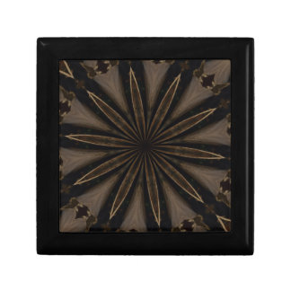 Dark Brown Rustic Kaleidoscopic Flower Art Keepsake Box