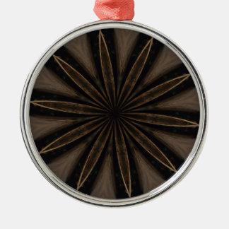 Dark Brown Rustic Kaleidoscopic Flower Art Silver-Colored Round Ornament