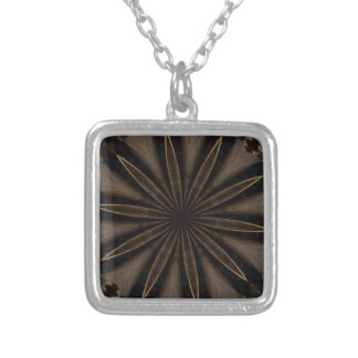 Dark Brown Rustic Kaleidoscopic Flower Art Silver Plated Necklace
