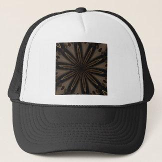 Dark Brown Rustic Kaleidoscopic Flower Art Trucker Hat