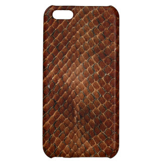 Dark Brown Small Scale Snake Skin Case For iPhone 5C