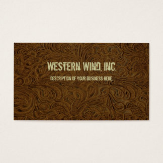 Dark Brown Tooled Leather Business Card