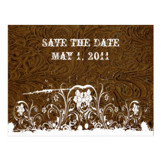 Dark Brown Tooled Leather Save the Date Postcard