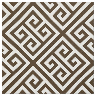 Dark Brown, White Med Greek Key Diag T Pattern #1 Fabric