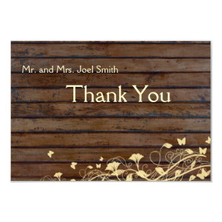 Dark Brown Wood flat thank you card with envelopes