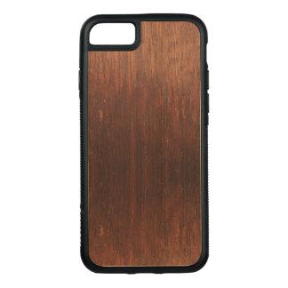Dark Brown Wood on Carved iPhone 8/7 Case