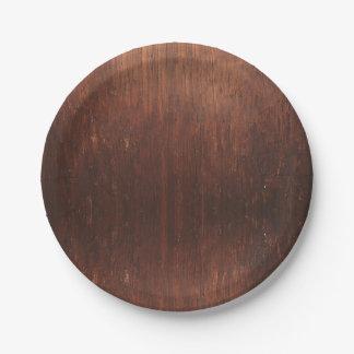 Dark Brown Wood Paper Plate