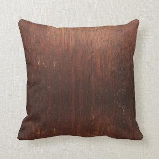 Dark Brown Wood Texture Throw Pillow