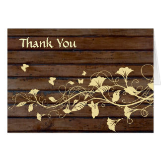 Dark Brown Wood Thank You Card