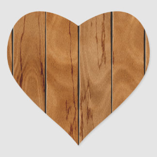Dark brown wooden floor texture heart sticker