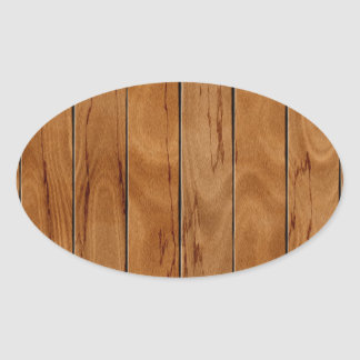 Dark brown wooden floor texture oval sticker