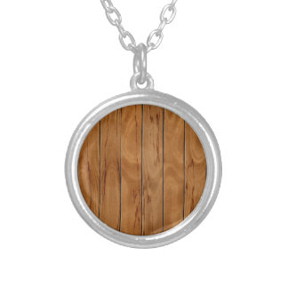Dark brown wooden floor texture silver plated necklace