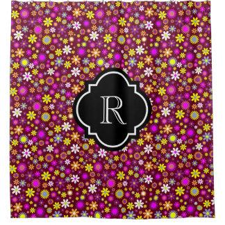 Dark Burgundy Bright Colorful Flowers Monogram