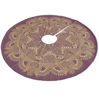Dark Burgundy Red Mauve Mandala Star Pattern Fleece Tree Skirt